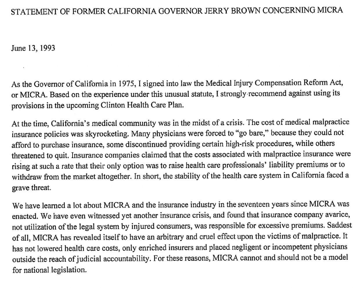 GOVERNOR JERRY BROWN'S 1993 STATEMENT ON MICRA